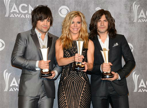 Dave Haywood, and from left, Hillary Scott and Charles Kelley, of the musical group The Band Perry, pose in the press room with the award for vocal group of the year at the 49th annual Academy of Country Music Awards at the MGM Grand Garden Arena on Sunday, April 6, 2014, in Las Vegas. &#40;Photo by Al Powers&#47;Powers Imagery&#47;Invision&#47;AP&#41; <span class=meta>(Al Powers&#47;Powers Imagery)</span>