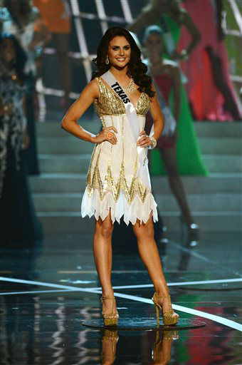 "<div class=""meta ""><span class=""caption-text "">Miss Texas Ali Nugent from Dallas walks the runway during the introductions of the Miss USA 2013 pageant, Sunday, June 16, 2013, in Las Vegas.  (AP Photo/ Jeff Bottari)</span></div>"