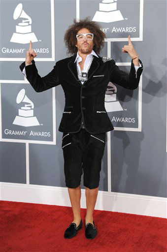 "<div class=""meta ""><span class=""caption-text "">Stefan Kendal Gordy, of musical group LMFAO, arrives at the 55th annual Grammy Awards on Sunday, Feb. 10, 2013, in Los Angeles.  (AP photo)</span></div>"