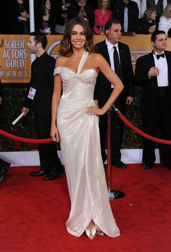 "<div class=""meta ""><span class=""caption-text "">Sofia Vergara arrives at the 19th Annual Screen Actors Guild Awards at the Shrine Auditorium in Los Angeles on Sunday Jan. 27, 2013.  (Photo/Jordan Strauss)</span></div>"