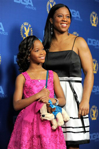 Actress Quvenzhane Wallis, left, and Qulyndreia Wallis arrive at the 65th Annual Directors Guild of America Awards at the Ray Dolby Ballroom on Saturday, Feb. 2, 2013, in Los Angeles. (Photo by Chris Pizzello/Invision/AP)