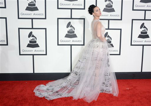 "<div class=""meta ""><span class=""caption-text "">Katy Perry arrives at the 56th annual GRAMMY Awards at Staples Center on Sunday, Jan. 26, 2014, in Los Angeles.   (Photo/Jordan Strauss)</span></div>"