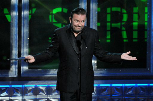 Ricky Gervais presents an award onstage at the 64th Primetime Emmy Awards at the Nokia Theatre on Sunday, Sept. 23, 2012, in Los Angeles. &#40;Photo by John Shearer&#47;Invision&#47;AP&#41; <span class=meta>(Photo&#47;John Shearer)</span>