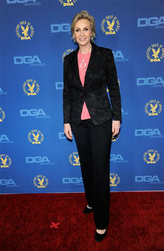Jane Lynch arrives at the 65th Annual Directors Guild of America Awards at the Ray Dolby Ballroom on Saturday, Feb. 2, 2013, in Los Angeles. &#40;Photo by Chris Pizzello&#47;Invision&#47;AP&#41; <span class=meta>(Photo&#47;Chris Pizzello)</span>