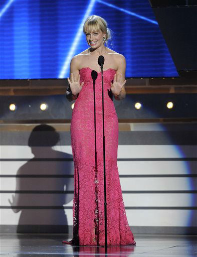 Actress Beth Behrs speaks on stage at the 48th Annual Academy of Country Music Awards at the MGM Grand Garden Arena in Las Vegas on Sunday, April 7, 2013.   <span class=meta>(AP photo)</span>
