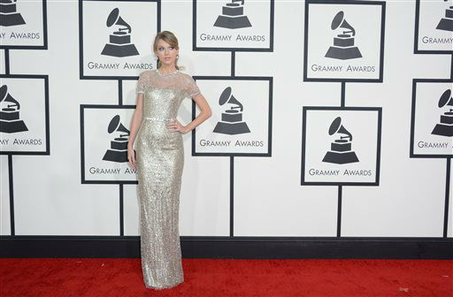 "<div class=""meta ""><span class=""caption-text "">Taylor Swift arrives at the 56th annual Grammy Awards at Staples Center on Sunday, Jan. 26, 2014, in Los Angeles.   (Photo/Jordan Strauss)</span></div>"