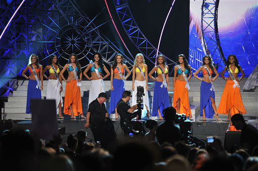 The top ten Miss USA finalists pose onstage during the Miss USA 2013 pageant, Sunday, June 16, 2013, in Las Vegas.   <span class=meta>(AP Photo&#47; Jeff Bottari)</span>