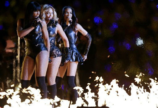 "<div class=""meta image-caption""><div class=""origin-logo origin-image ""><span></span></div><span class=""caption-text"">Beyonce, center, Kelly Rowland, left, and Michelle Williams, of Destiny's Child, perform during the halftime show of the NFL Super Bowl XLVII football game between the San Francisco 49ers and the Baltimore Ravens, Sunday, Feb. 3, 2013, in New Orleans.  (AP Photo/ Marcio Sanchez)</span></div>"
