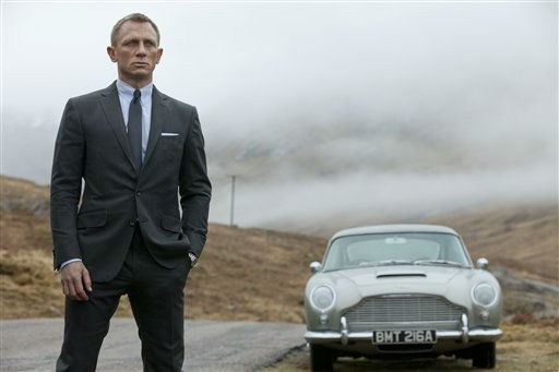 "<div class=""meta ""><span class=""caption-text "">FILE - This publicity file photo released by Columbia Pictures shows Daniel Craig as James Bond in the action adventure film, ""Skyfall."" Agent 007 is real to millions of moviegoers, and once again they will flock to see Bond battle for queen and country when his 23rd official screen adventure, ""Skyfall,"" opens fall 2012. (AP Photo/Sony Pictures, Francois Duhamel, File) (AP Photo/ Francois Duhamel)</span></div>"