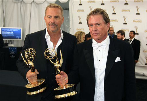 Actor Kevin Costner, left, winner of the Emmy for outstanding lead actor in a miniseries or movie for &#34;Hatfields &amp; McCoys&#34; and actor Tom Berenger, winner of the Emmy for outstanding supporting actor in a miniseries or a movie for &#34;Hatfields &amp; McCoys&#34;, pose together backstage at the 64th Primetime Emmy Awards at the Nokia Theatre on Sunday, Sept. 23, 2012, in Los Angeles. &#40;Photo by Matt Sayles&#47;Invision&#47;AP&#41; <span class=meta>(Photo&#47;Matt Sayles)</span>