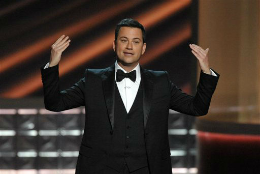 "<div class=""meta image-caption""><div class=""origin-logo origin-image ""><span></span></div><span class=""caption-text"">Host Jimmy Kimmel speaks onstage at the 64th Primetime Emmy Awards at the Nokia Theatre on Sunday, Sept. 23, 2012, in Los Angeles. (Photo by John Shearer/Invision/AP) (Photo/John Shearer)</span></div>"