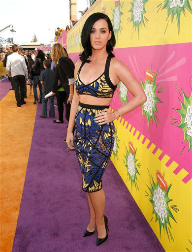 "<div class=""meta image-caption""><div class=""origin-logo origin-image ""><span></span></div><span class=""caption-text"">Singer Katy Perry arrives at the 26th annual Nickelodeon's Kids' Choice Awards on Saturday, March 23, 2013, in Los Angeles. (Photo by Todd Williamson/Invision/AP) (Photo/Todd Williamson)</span></div>"