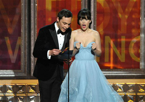 "<div class=""meta image-caption""><div class=""origin-logo origin-image ""><span></span></div><span class=""caption-text"">Jim Parsons, left, and Zooey Deschanel present an award onstage at the 64th Primetime Emmy Awards at the Nokia Theatre on Sunday, Sept. 23, 2012, in Los Angeles. (Photo by John Shearer/Invision/AP) (Photo/John Shearer)</span></div>"
