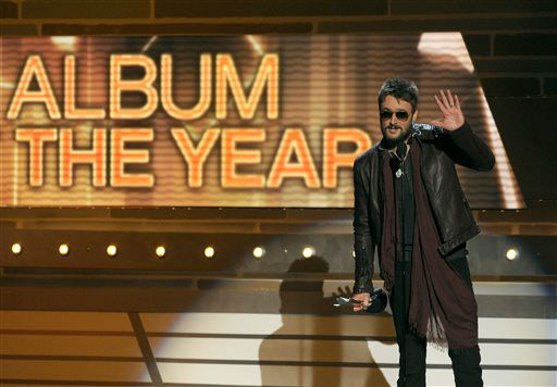 Eric Church accepts the award for album of the year for &#34;Chief&#34; at the 48th Annual Academy of Country Music Awards at the MGM Grand Garden Arena in Las Vegas on Sunday, April 7, 2013.  <span class=meta>(AP photo)</span>