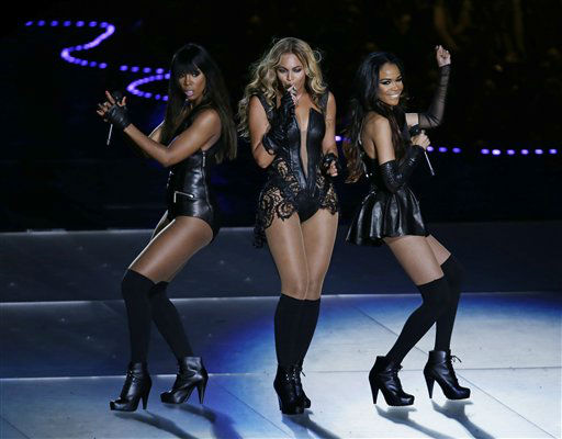 "<div class=""meta image-caption""><div class=""origin-logo origin-image ""><span></span></div><span class=""caption-text"">Beyonce performs with Kelly Rowland, left, and Michelle Williams, right, of Destiny's Child, during the halftime show of the NFL Super Bowl XLVII football game between the San Francisco 49ers and the Baltimore Ravens, Sunday, Feb. 3, 2013, in New Orleans.  (AP Photo/ Gerald Herbert)</span></div>"