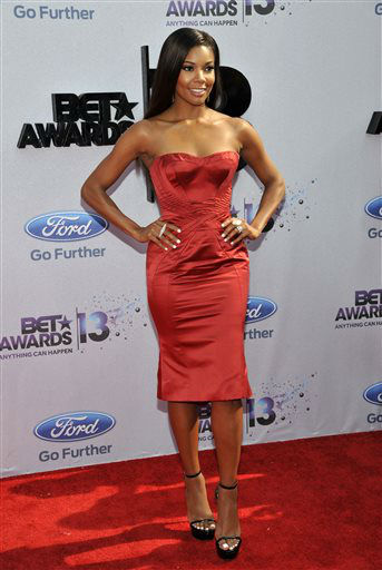"<div class=""meta image-caption""><div class=""origin-logo origin-image ""><span></span></div><span class=""caption-text"">Gabrielle Union arrives at the BET Awards at the Nokia Theatre on Sunday, June 30, 2013, in Los Angeles. (Photo by Chris Pizzello/Invision/AP) (AP Photo/ Chris Pizzello)</span></div>"