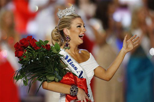 Miss New York Mallory Hagan waves after she was crowned Miss America 2013 on Saturday, Jan. 12, 2013, in Las Vegas.  <span class=meta>(AP Photo&#47; Isaac Brekken)</span>