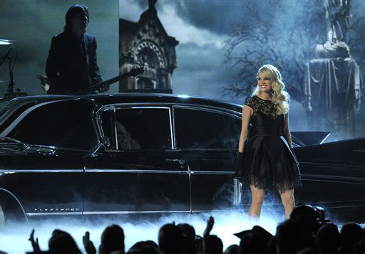 Carrie Underwood performs &#34;Two Black Cadillacs&#34; at the 48th Annual Academy of Country Music Awards at the MGM Grand Garden Arena in Las Vegas on Sunday, April 7, 2013.  <span class=meta>(AP photo)</span>
