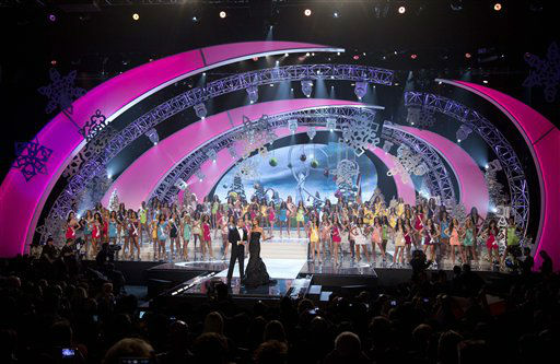 Contestants from 89 countries stand on the stage behind hosts Andy Cohen and Giuliana Rancic at the start of the Miss Universe pageant, Wednesday, Dec. 19, 2012, in Las Vegas.  <span class=meta>(AP Photo&#47; Julie Jacobson)</span>