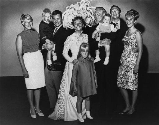 In order to make Mary Martin&#39;s appearance in Dallas, her home town, in  &#39;Hello, Dolly&#39; truly memorable, her whole family converged upon her backstage after the matinee in Dallas on Saturday, May 22, 1965.    The entire Mr. and Mrs. Richard &#40;Mary Martin&#41;, Holiday, familiy  together at one time is: &#40;left to right&#41;: Mrs. Larry &#40;Maj&#41; Hagman, Preston Hagman, Larry Hagman &#40;Mary&#39;s son&#41;, Mary, Heidi Hagman, Richard Halliday &#40;Mary&#39;s husband&#41; Timothy Weir, Anthony Weir, and Heller Weier &#40;The Halliday&#39;s daugther&#41;.   <span class=meta>(AP Photo&#47; A  RE  PEC  XPEC)</span>