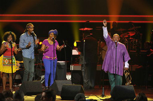 South African musician Hugh Masekela, right, performs at the 55th annual Grammy Awards on Sunday, Feb. 10, 2013, in Los Angeles.  <span class=meta>(AP photo)</span>