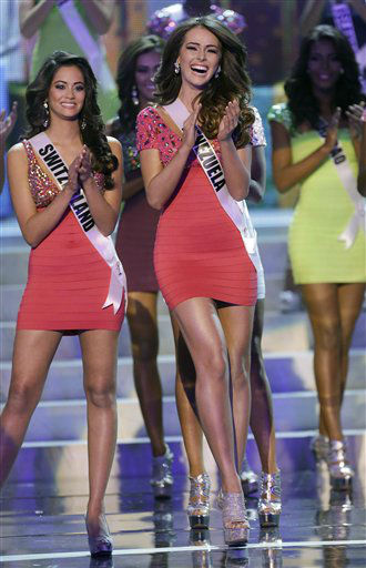 Venezuela&#39;s Irene Sofia Esser Quintero reacts as she is named one of the final 16 contestants during the Miss Universe pageant, Wednesday, Dec. 19, 2012, in Las Vegas.  <span class=meta>(AP Photo&#47; Julie Jacobson)</span>
