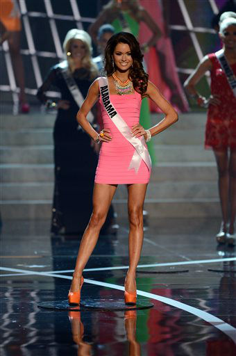"<div class=""meta ""><span class=""caption-text "">Miss Alabama Mary Margaret McCord from Gadsden walks the runway during the introductions of the Miss USA 2013 pageant, Sunday, June 16, 2013, in Las Vegas.   (AP Photo/ Jeff Bottari)</span></div>"