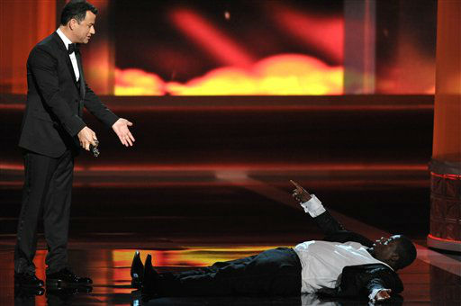 "<div class=""meta image-caption""><div class=""origin-logo origin-image ""><span></span></div><span class=""caption-text"">Host Jimmy Kimmel, left, and Tracy Morgan perform onstage at the 64th Primetime Emmy Awards at the Nokia Theatre on Sunday, Sept. 23, 2012, in Los Angeles. (Photo by John Shearer/Invision/AP) (Photo/John Shearer)</span></div>"