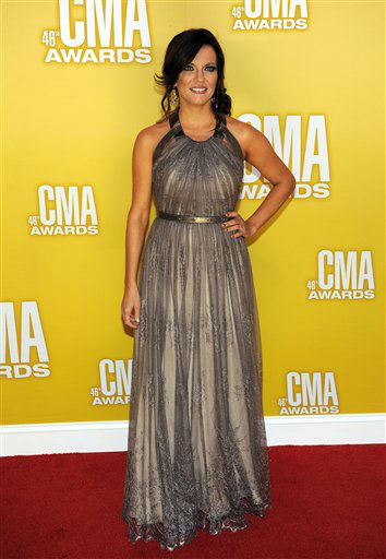 "<div class=""meta ""><span class=""caption-text "">Martina McBride arrives at the 46th Annual Country Music Awards at the Bridgestone Arena on Thursday, Nov. 1, 2012, in Nashville, Tenn.   (Photo/Chris Pizzello)</span></div>"