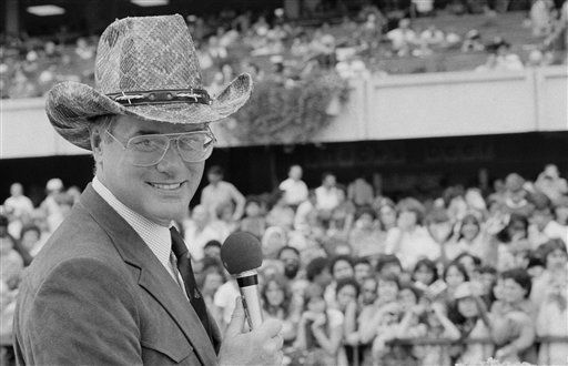 Larry Hagman, star of the TV show &#39;Dallas&#39; appears at Belmont Race Track in New York on Sept. 14, 1980 for a J.R. Ewing look-a-like contest.   <span class=meta>(AP Photo&#47; A  N  PEC XPEC)</span>