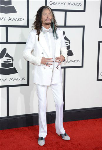 "<div class=""meta image-caption""><div class=""origin-logo origin-image ""><span></span></div><span class=""caption-text"">Steven Tyler arrives at the 56th annual GRAMMY Awards at Staples Center on Sunday, Jan. 26, 2014, in Los Angeles.   (Photo by Jordan Strauss/Invision/AP)</span></div>"