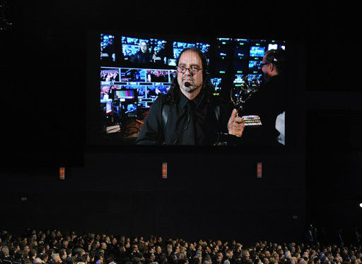 Glenn Weiss is seen onscreen as he accepts the award for outstanding directing in a variety special for &#34;The 65th Annual Tony Awards&#34; at the 64th Primetime Emmy Awards at the Nokia Theatre on Sunday, Sept. 23, 2012, in Los Angeles. &#40;Photo by John Shearer&#47;Invision&#47;AP&#41; <span class=meta>(Photo&#47;John Shearer)</span>