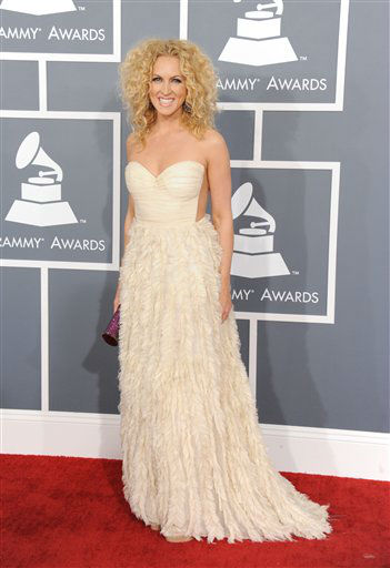 Kimberly Schlapman, of the musical group Little Big Town, arrives at the 55th annual Grammy Awards on Sunday, Feb. 10, 2013, in Los Angeles.