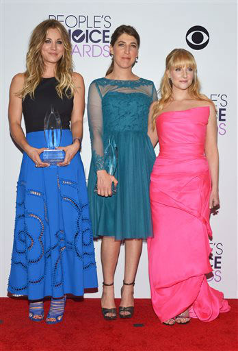 From left, Kaley Cuoco, Mayim Bialik and Melissa Rauch pose in the press room with the award for favorite network TV comedy at the 40th annual People&#39;s Choice Awards at Nokia Theatre L.A. Live on Wednesday, Jan. 8, 2014, in Los Angeles.  <span class=meta>(Photo&#47;John Shearer)</span>