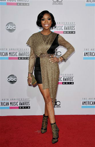 Brandy arrives at the 40th Anniversary American Music Awards on Sunday, Nov. 18, 2012, in Los Angeles. (Photo by John Shearer/Invision/AP)