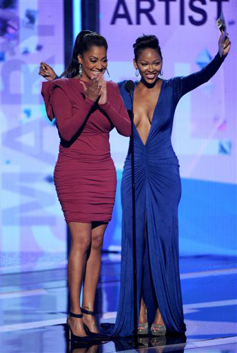 "<div class=""meta ""><span class=""caption-text "">La La Anthony, left, and Meagan Good speak onstage at the BET Awards at the Nokia Theatre on Sunday, June 30, 2013, in Los Angeles. (Photo by Frank Micelotta/Invision/AP) (AP Photo/ Frank Micelotta)</span></div>"