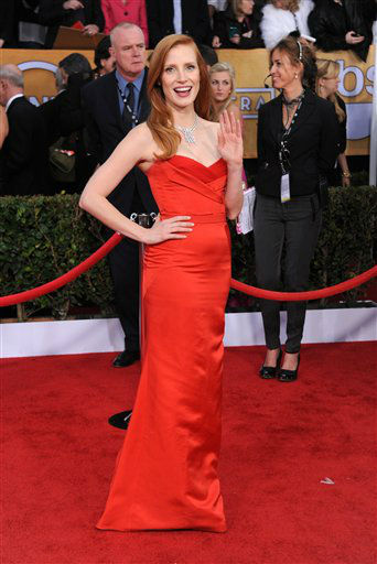 Jessica Chastain arrives at the 19th Annual Screen Actors Guild Awards at the Shrine Auditorium in Los Angeles on Sunday, Jan. 27, 2013. &#40;Photo by Jordan Strauss&#47;Invision&#47;AP&#41; <span class=meta>(Photo&#47;Jordan Strauss)</span>