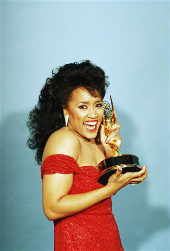 Actress Jackee Harry reacts backstage at the Pasadena Civic Auditorium Sunday night, Sept. 20, 1987 after capturing an Emmy for best supporting actress in a comedy series during the 39th Annual Emmy Awards. She is one of the celebrities rumored to be dancing on the 14th season of &#39;Dancing with the Stars&#39; on ABC. The official cast will be revealed on February 28 on ABC. <span class=meta>(AP Photo&#47; Douglas C. Pizac)</span>
