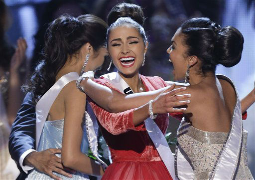 "<div class=""meta image-caption""><div class=""origin-logo origin-image ""><span></span></div><span class=""caption-text"">Miss USA, Olivia Culpo, center, reacts with Miss Teen USA, Logan West, as she is announced as the new Miss Universe over first runner-up Miss Philippines, Janine Tugonon, left, during the Miss Universe pageant, Wednesday, Dec. 19, 2012, in Las Vegas.  (AP Photo/ Julie Jacobson)</span></div>"