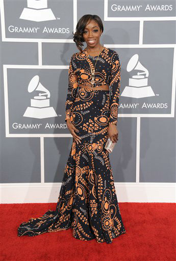 Estelle arrives at the 55th annual Grammy Awards on Sunday, Feb. 10, 2013, in Los Angeles.