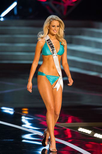 In this photo provided by the Miss Universe Organization,  Miss Vermont USA 2013, Sarah Westbrook,  competes in her swimsuit during the  2013 Miss USA Competition Preliminary Show in Las Vegas on Wednesday June 12, 2013.   She will compete for the title of Miss USA 2013 and the coveted Miss USA Diamond Nexus Crown on June 16, 2013.    <span class=meta>(AP Photo&#47; Darren Decker)</span>
