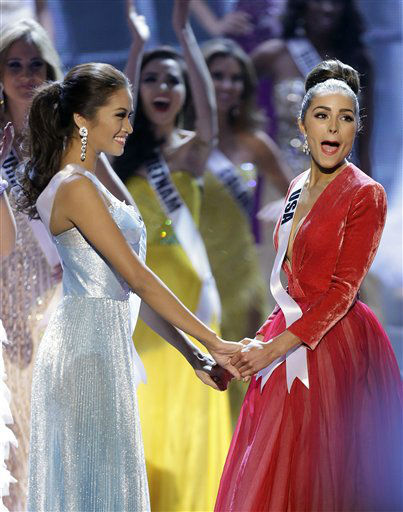 "<div class=""meta ""><span class=""caption-text "">Miss USA, Olivia Culpo, right, reacts as she is announced as the new Miss Universe over first runner-up Miss Philippines, Janine Tugonon, left, during the Miss Universe competition, Wednesday, Dec. 19, 2012, in Las Vegas.   (AP Photo/ Julie Jacobson)</span></div>"
