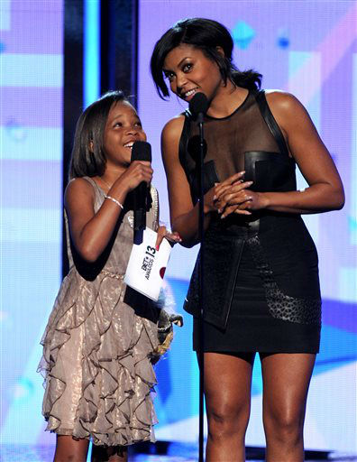 Quvenzhane Wallis, left, and Taraji P. Henson speak onstage at the BET Awards at the Nokia Theatre on Sunday, June 30, 2013, in Los Angeles. &#40;Photo by Frank Micelotta&#47;Invision&#47;AP&#41; <span class=meta>(AP Photo&#47; Frank Micelotta)</span>