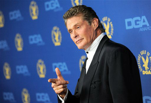 David Hasselhoff arrives at the 65th Annual Directors Guild of America Awards at the Ray Dolby Ballroom on Saturday, Feb. 2, 2013, in Los Angeles. (Photo by Chris Pizzello/Invision/AP)