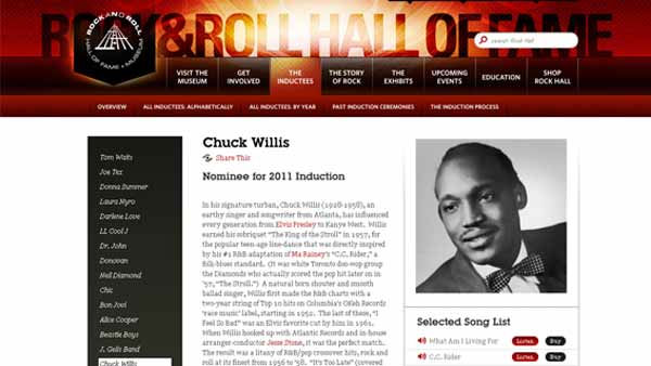 "<div class=""meta ""><span class=""caption-text "">In his signature turban, Chuck Willis (1928-1958), an earthy singer and songwriter from Atlanta, has influenced every generation from Elvis Presley to Kanye West.  (Rock and Roll Hall of Fame)</span></div>"