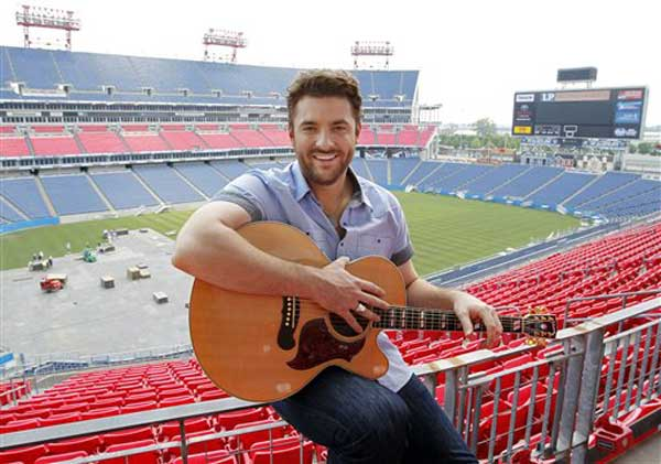 This May 31, 2011, shows singer Chris Young in Nashville, Tenn. Young will perform in the stadium during the CMA Music Fest, which runs June 9-12. (AP Photo/Mark Humphrey) Special Instructions: A MAY 31, 2011 PHOTO