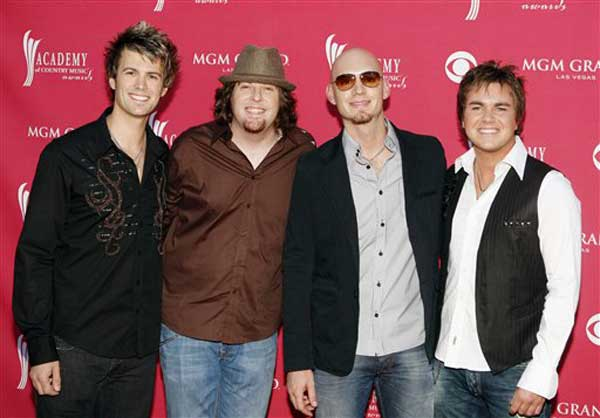 Eli Young Band arrives at the 43rd Annual Academy of Country Music Awards on Sunday, May 18, 2008, in Las Vegas. (AP Photo/Isaac Brekken)