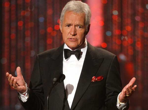 Alex Trebek is seen on stage at the 37th Annual Daytime Emmy Awards on Sunday, June 27, 2010, in Las Vegas. (AP Photo/Eric Jamison)