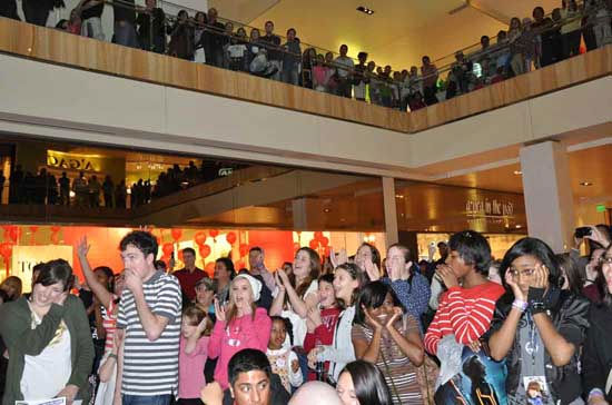 On Sunday, 46 local fans tried to sing their way into a chance to meet pop star Justin Bieber