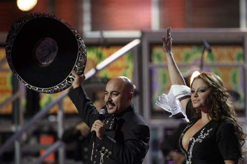 "<div class=""meta ""><span class=""caption-text "">Lupillo Rivera, left, and Jenni Rivera perform at the 9th annual Latin Grammy Awards on Thursday, Nov. 13, 2008 in Houston. (AP Photo/Matt Sayles) (Photo/Matt Sayles)</span></div>"